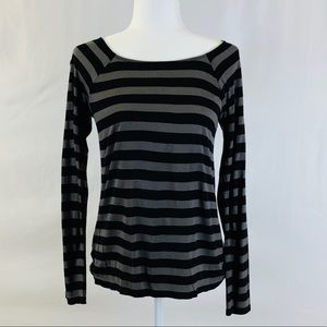 Ann Taylor Long-Sleeved Striped Tee, Size S